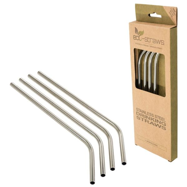 ANGLED Stainless Steel Drinking Straws (6mm x 215mm)